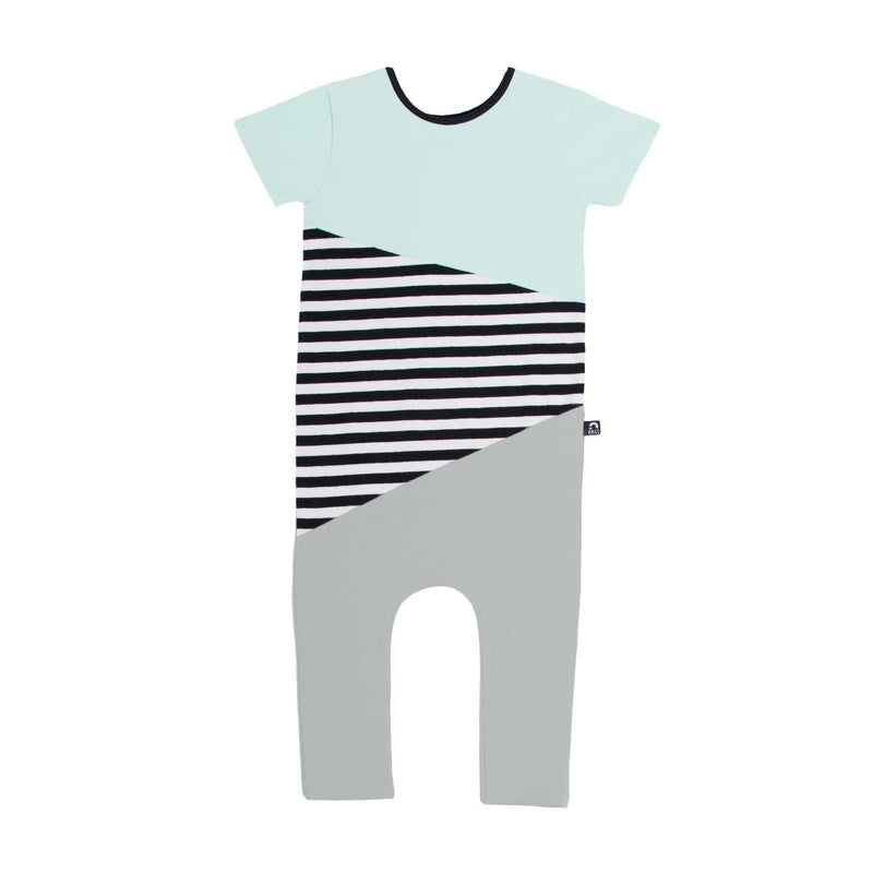 Short Sleeve Asymmetrical Rag - Mint & Grey Colorblock
