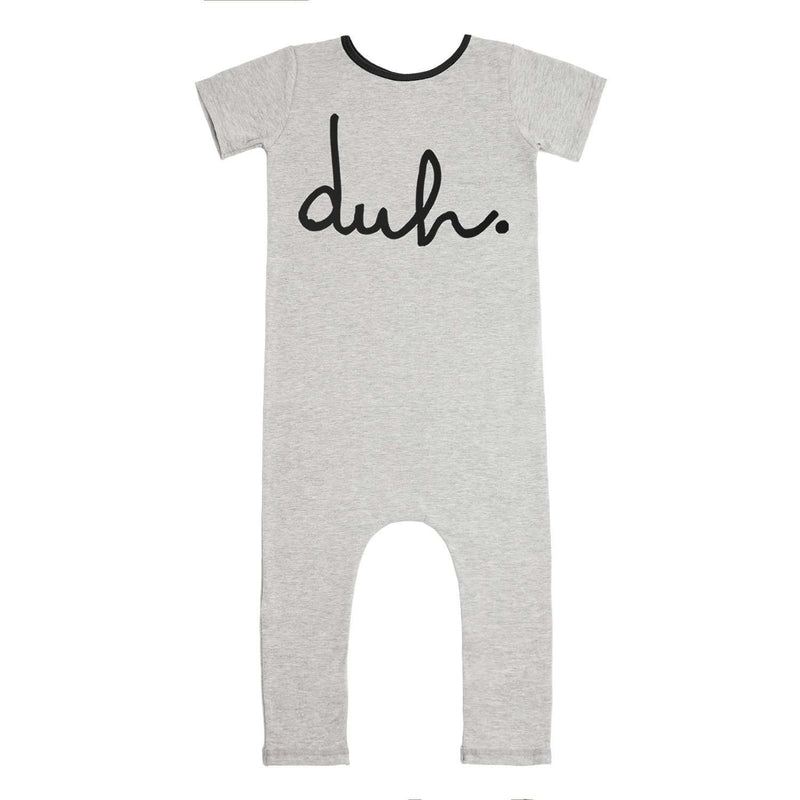 Short Sleeve Rag Romper - 'duh' - Heather Grey Classic