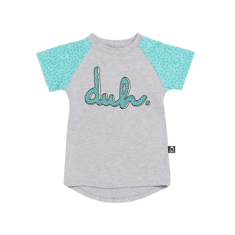 Kids Raglan Drop Back Tee Shirt  - 'Donut Duh' - Pool Blue Sprinkles