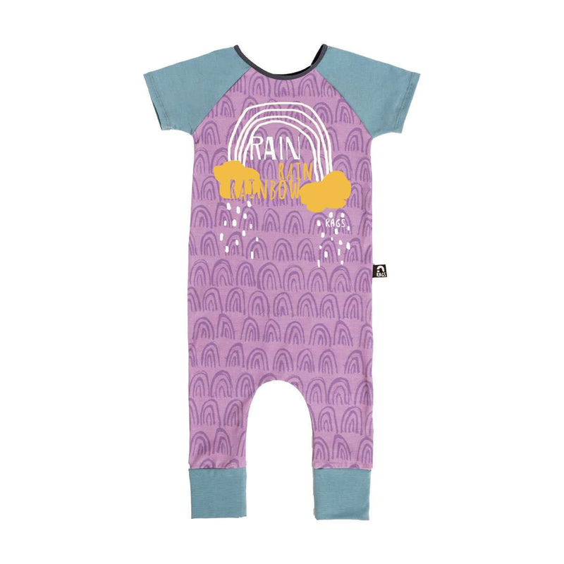 Short Sleeve Raglan Rag - 'Rain Rain Rainbow' - Purple Rainbows