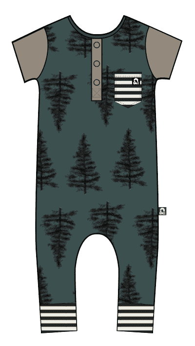 Short Sleeve Henley Rag - 'Christmas Trees' - June Bug