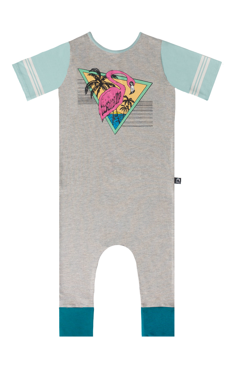Retro Short Sleeve Rag Romper - 'Flamingo' - Heather Grey