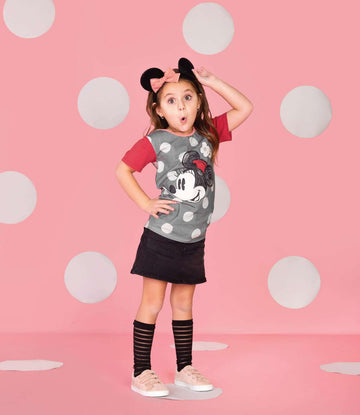 Kid's OG Style Tee - 'Flower Minnie' - Pewter