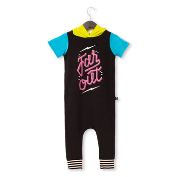 Short Sleeve Hooded Rag Romper - '$32 at Checkout' - 'Far Out' - Phantom and Neon