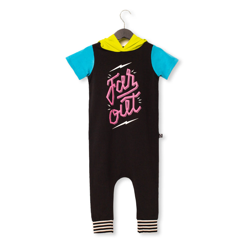 Short Sleeve Hooded Rag Romper - 'Far Out' - Phantom and Neon
