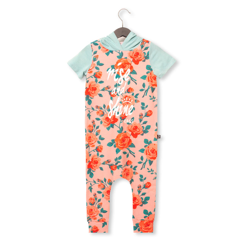 Short Sleeve Hooded Rag Romper - 'Rise & Shine' - Pink Floral