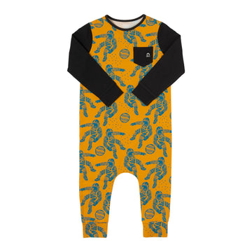 Long Sleeve Chest Pocket Rag Romper - 'Astronauts'