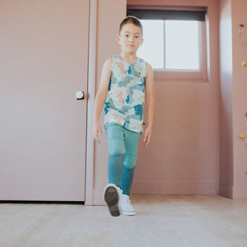 Kids Joggers with Kneepad - 'Dip Dye' - Teal