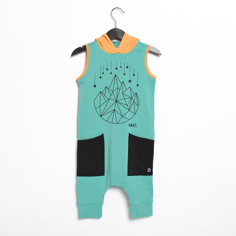 Tank Hooded Hip Pocket Capri Rag Romper - 'Geostar' - Wasabi