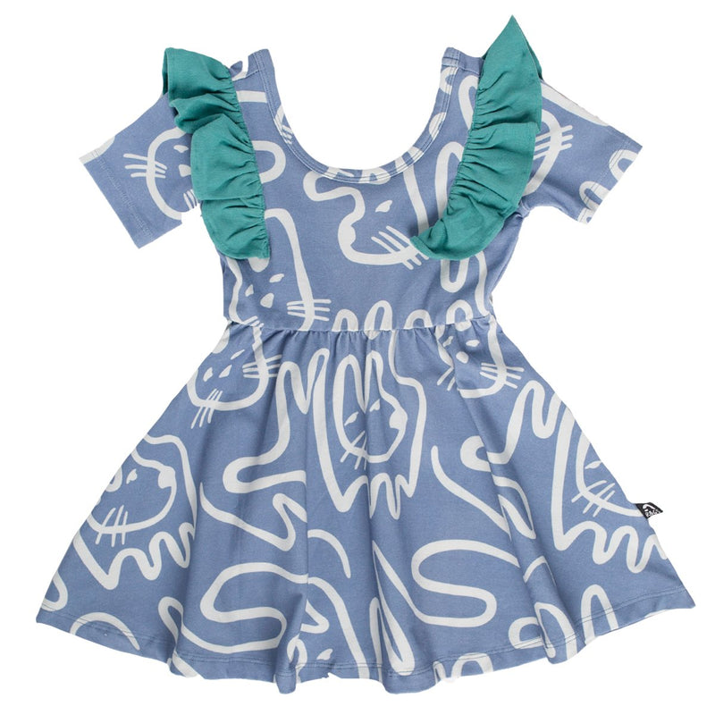 Short Sleeve Ruffle Swing Dress - 'Easter Bunnies' - Tempest Blue
