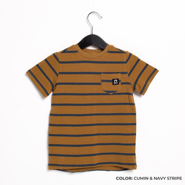 Short Sleeve Chest Pocket Kids Essentials Tee  - 'Kids Tee in Multiple Colors' - Spring