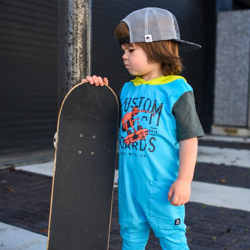 Short Sleeve Hooded Hip Pocket Rag Romper - 'Custom Boards' - George Hats Collab