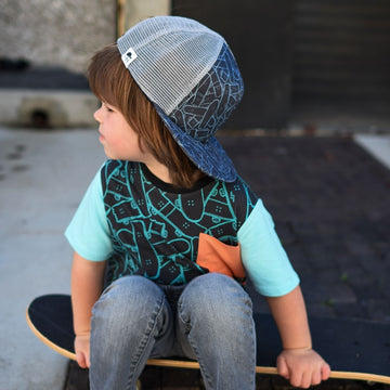Short Sleeve Big Pocket Tee - 'Skateboard Jungle' - George Hats Collab