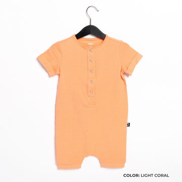 Short Sleeve Henley Short Essentials Rag Romper - 'Rag in Multiple Colors' - Spring