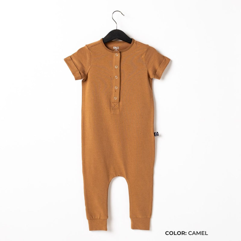 Short Sleeve Henley Essentials Rag Romper - 'Rag in Core Colors'