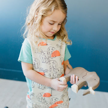 Short Sleeve Peek Pocket Rag Romper - 'Elephant Safari' - Whitecap Gray