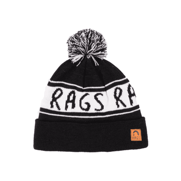 Kids Pom Beanie - 'Monochrome Black & White'
