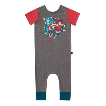 Short Sleeve Rag Romper - 'Captain America & Iron Man' - Marvel Collection from Rags - Charcoal