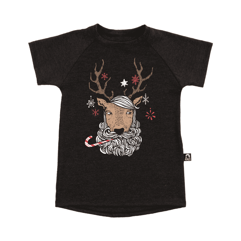 Kids Raglan Holiday Drop Back Tee Shirt  - 'Rupert the Hipster Reindeer' ***BACKORDER***