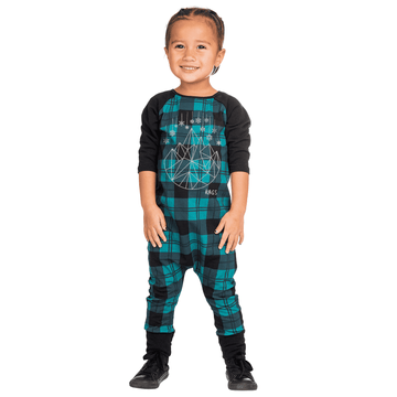 3/4 Length Sleeve Raglan Holiday Rag - 'Plaid Geo-Snowflake'