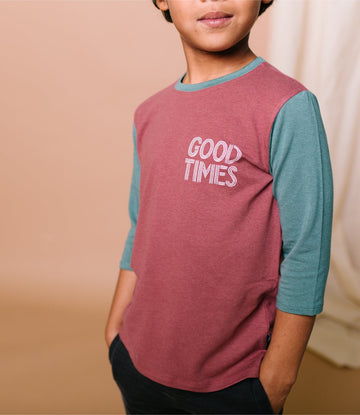 3/4 Sleeve Tee - 'Good Times' - Apple Butter