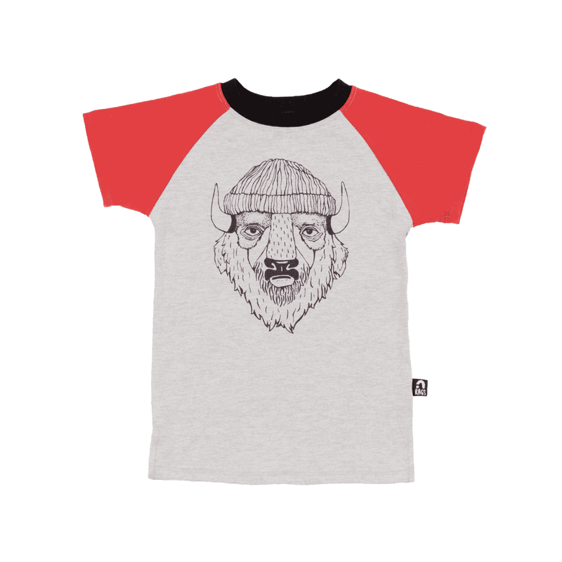 Kids Raglan Tee Shirt  - 'Borris the Bison'