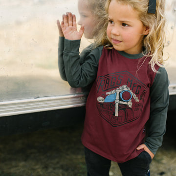 Long Sleeve Tee - 'Moto Club' - Red Ochre - Size 2T