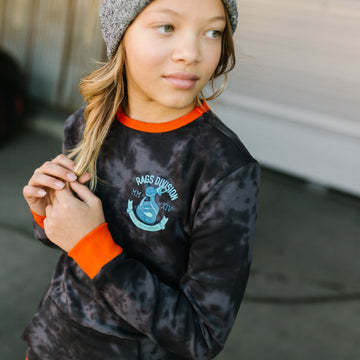 Kids Kangaroo Pocket Sweatshirt - 'Cobra RAGS Division' - Black Beauty & Obsidian Tie-Dye