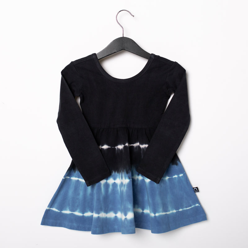 Long Sleeve Swing Dress - 'Regatta Tie Dye' - Black