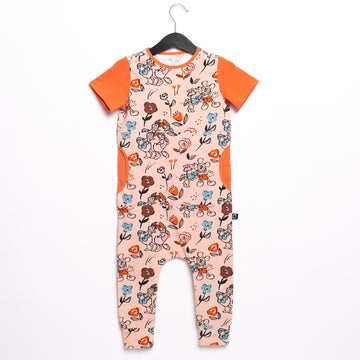 Short Sleeve Peek Pocket Rag Romper - 'Disney Couples Floral' - Disney Collection from RAGS