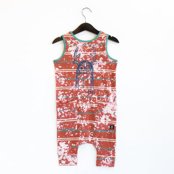 Tank Capri Hip Pocket Rag Romper - 'Trinny' - Washed Ginger Spice CAW