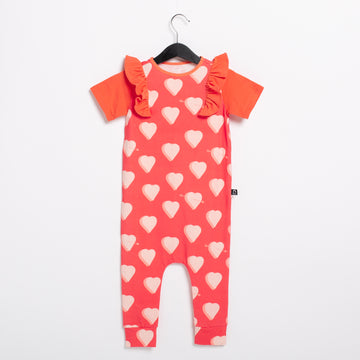 PREORDER Short Sleeve Ruffle Rag Romper - 'Hearts & Arrows'