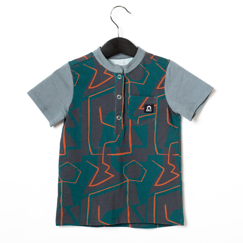 Short Sleeve Henley Pocket Rounded Tee - 'Abstract Shapes' - June Bug