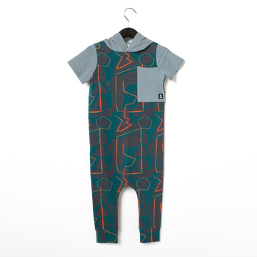 Short Sleeve Hooded Big Pocket Rag Romper - 'Abstract Shapes' - June Bug