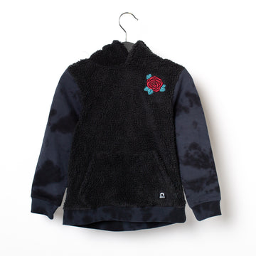 Kids Hoodie - 'Embroidered Rose' - Sherpa Body Tie Dye Sleeves