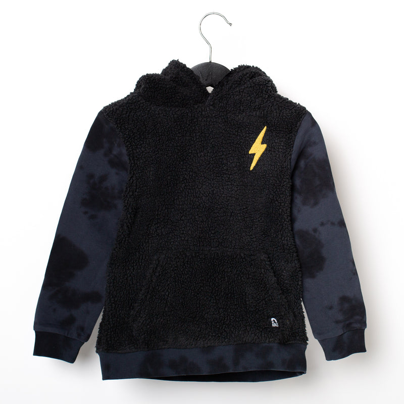 Kids Hoodie - 'Embroidered Lightning' - Sherpa Body Tie Dye Sleeves