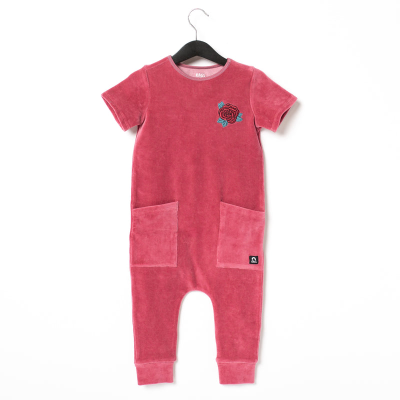 Short Sleeve Hip Pocket Rag Romper - 'Rose' - Mauvewood Velour