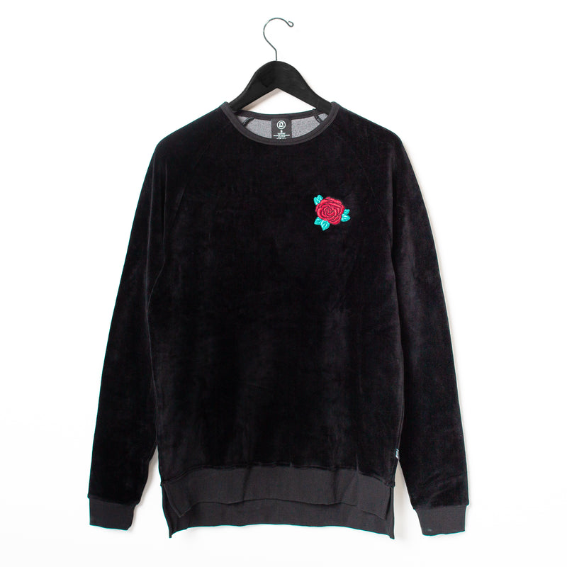 Unisex Adult Crewneck Sweatshirt - 'Rose' - Black Velour SALE