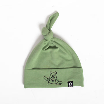 Top Knot Baby Hat - 'Embroidered Winnie the Pooh' - Disney Collection from RAGS - Basil