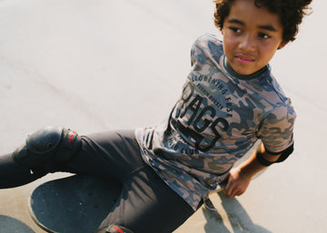 Retro Sleeve Kids Tee - 'Rags Lightning Fast' - Camo