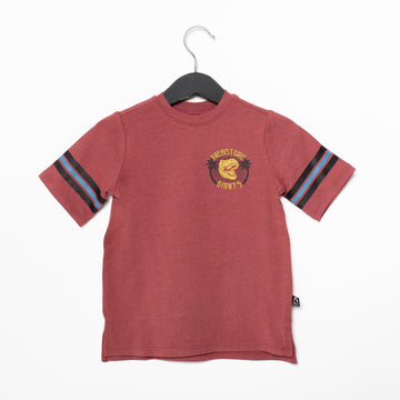 Retro Sleeve Kids Tee - 'Prehistoric Giants' - Apple Butter