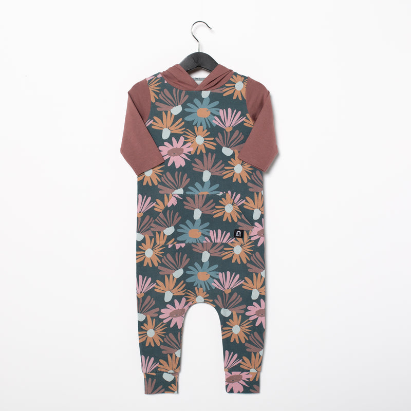 3/4 Sleeve Hooded Kangaroo Pocket Rag Romper - 'Whimsy Daisy Floral' - Purple Dove
