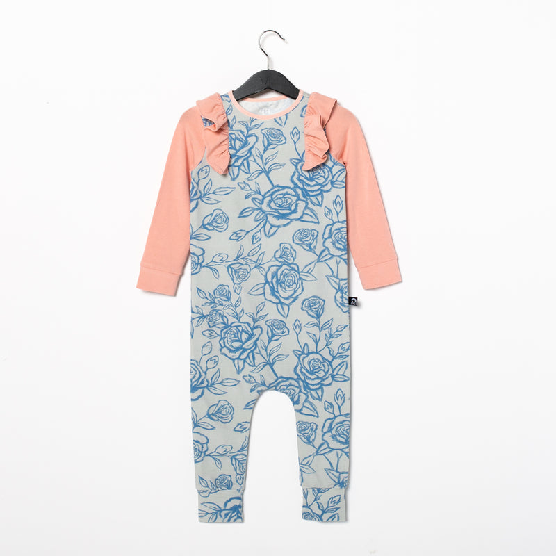 Long Sleeve Ruffle Rag Romper - 'Sketchy Rose Floral' - Coral Cloud