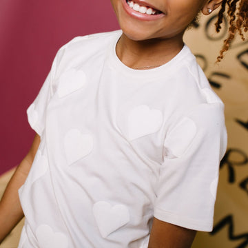 PREORDER Short Sleeve Kids Tee - 'Puff Print Hearts' - Cream