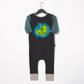 3/4 Sleeve Rag Romper - 'Dinomyte' - Licorice
