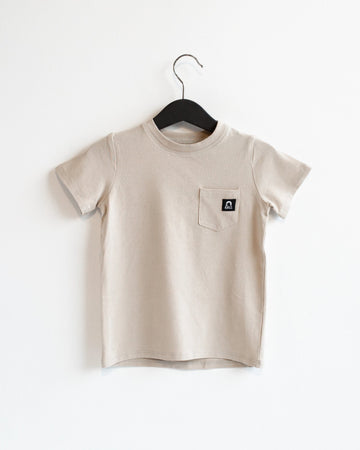 Short Sleeve Chest Pocket Kids Essentials Tee - 'Sand Dollar'