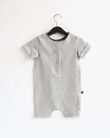 Rolled Short Sleeve Henley Short Essentials Rag Romper - 'Heather Grey'