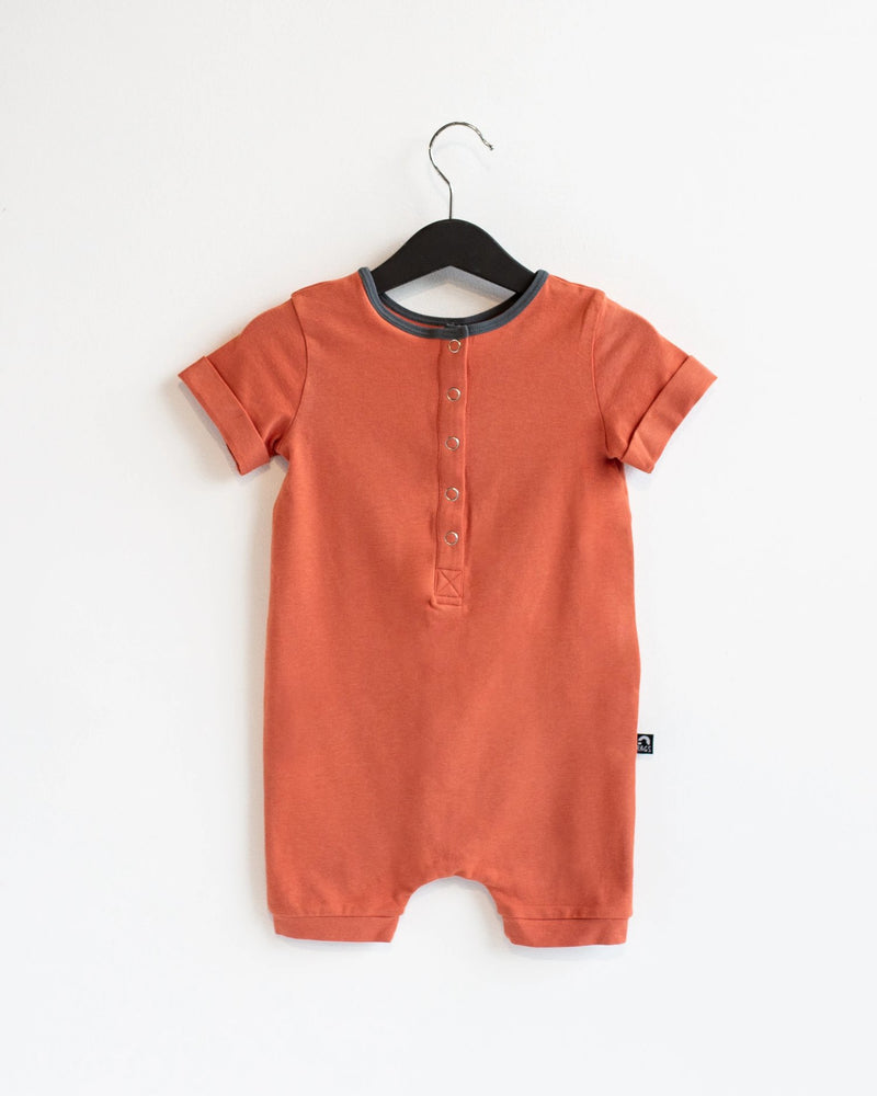 Rolled Short Sleeve Henley Short Essentials Rag Romper - 'Ginger Spice'