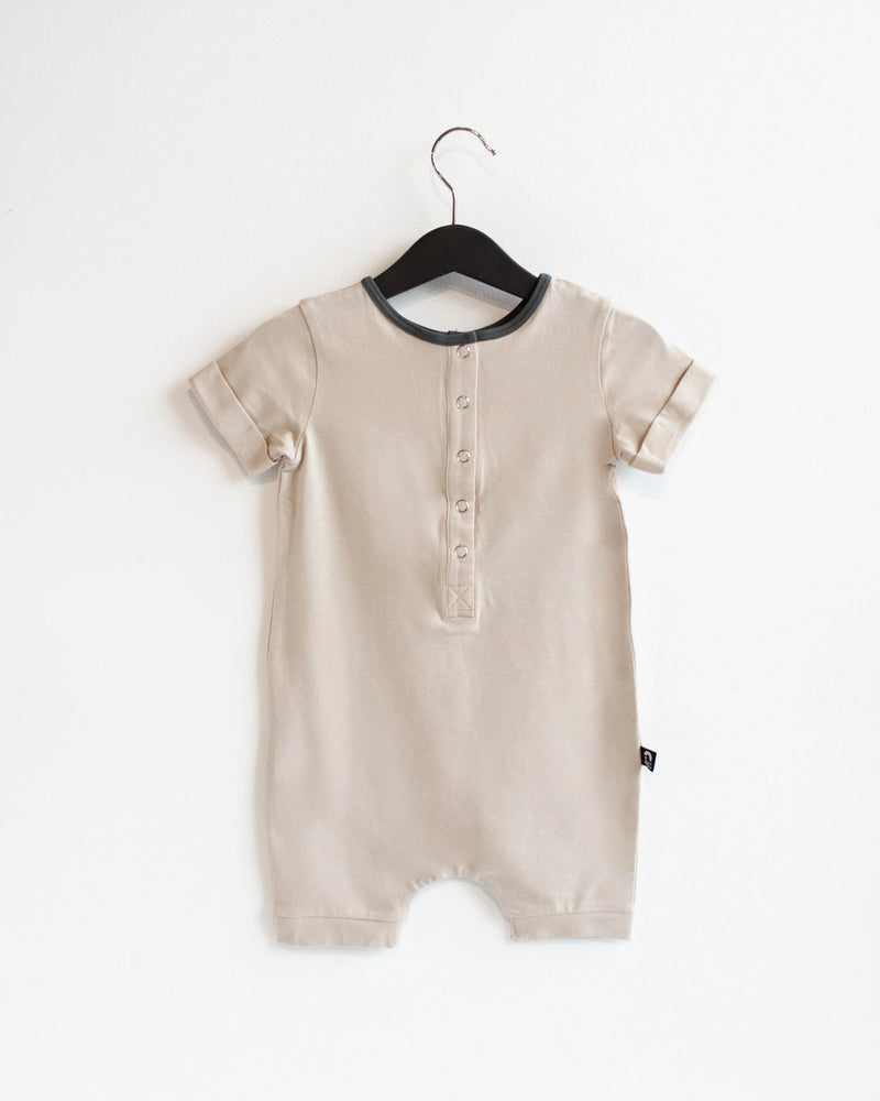 Rolled Short Sleeve Henley Short Essentials Rag Romper - 'Sand Dollar'