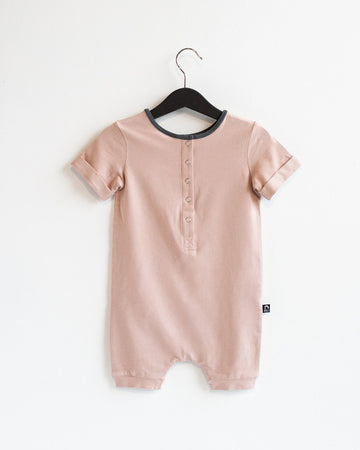 Rolled Short Sleeve Henley Short Essentials Rag Romper - 'Adobe Rose'